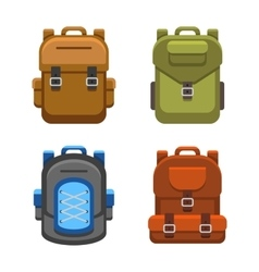 Backpack Bag Flat Style Set vector image