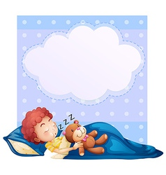 Banner with boy sleeping vector image
