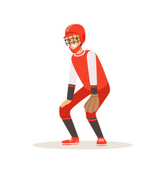 Baseball player in a red uniform trying to catch vector