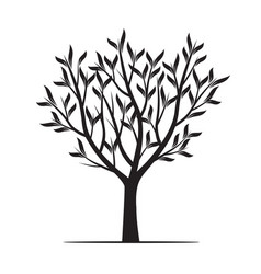 Black trees with leafs vector