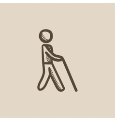 Blind man with stick sketch icon vector