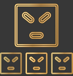 Bronze line anger logo design set vector