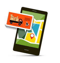 cell phone with map and van with parcels vector image