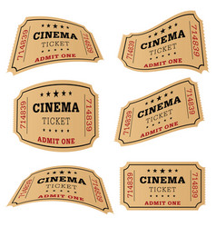Cinema ticket movie set vector