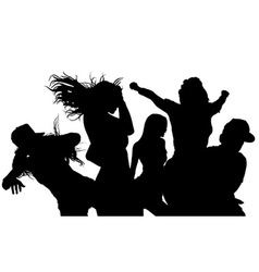 Dancing crowd silhouette vector