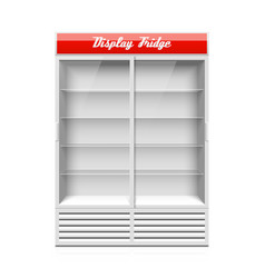 Display fridge with two glass sliding doors vector