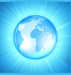 Earth on sunburst background vector