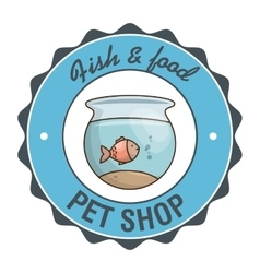 Fish pet shop icon vector