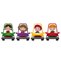 four children riding on four different cars vector image vector image
