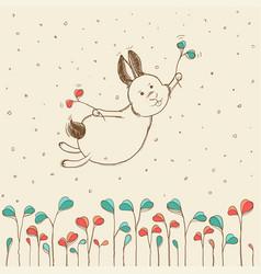 hand-drawn flying bunny vector image vector image