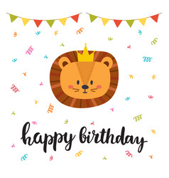 Happy birthday cute greeting card with funny vector