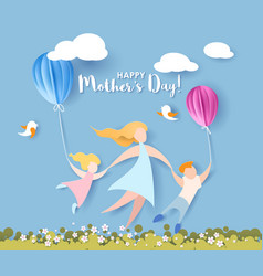 happy mothers day card paper cut style vector image