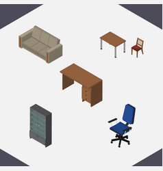 Isometric furniture set of table couch office vector