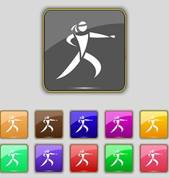 Karate kick icon sign Set with eleven colored vector image