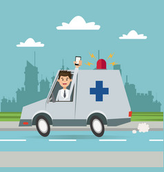 Man ambulance phone city background vector