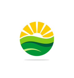 Nature round earth land and sun logo vector