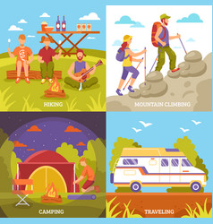 Outdoor recreation compositions set vector