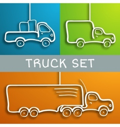 Paper truck set vector