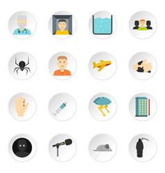 Phobia symbols icons set in flat style vector