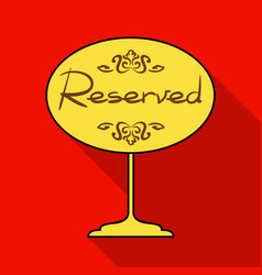 Restaurant golden reserved sign icon in flat style vector
