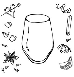 rocks glass coctail tumbler hand drawn vector image