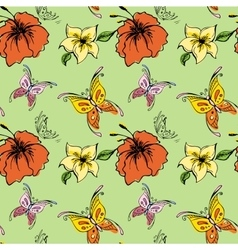 Seamless pattern butterfly and flowers vector image