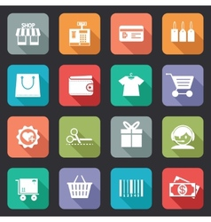 Set of colorful purchase icons in flat style vector image vector image
