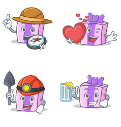 Set of gift character with explorer heart miner vector