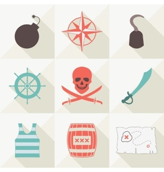 Set of pirate icons vector image