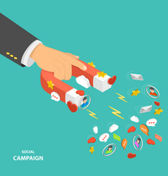 Social campaign flat isometric low poly concept vector