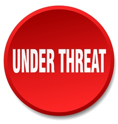 Under threat red round flat isolated push button vector