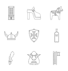 Vacation in sweden icons set outline style vector