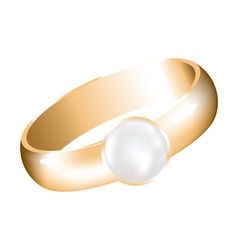 vector golden ring with a pearl vector image vector image