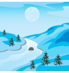 Winter landscape with river vector image