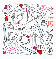 woman beauty cosmetics hand drawn set vector image