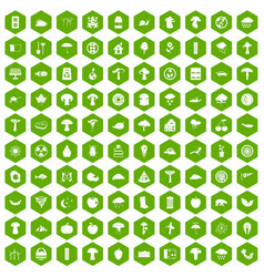 100 mushrooms icons hexagon green vector