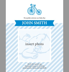 Baby boy announcement card template with bicycle vector
