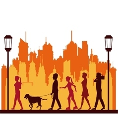 Colored people walking city park lamppost vector