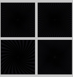 Black spiral ray and starburst background set vector