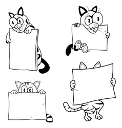 Cartoon cats with banners vector