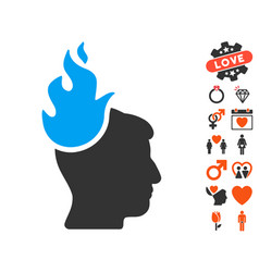 Fired head icon with dating bonus vector