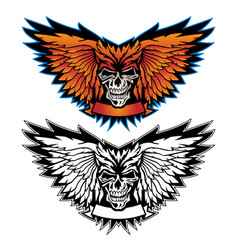 Skull wing logo graphic vector