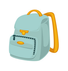 School backpack in blue and yellow colors isolated vector