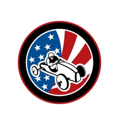 American soap box derby car with stars and stripes vector