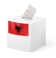 Ballot box with voting paper albania vector