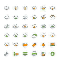 Cloud computing flat design icon set cloud vector