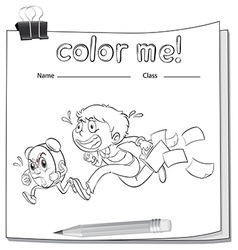 A coloring worksheet with a boy vector