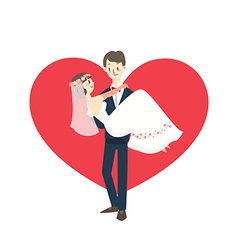 Young wedding couple groom carrying bride cartoon vector