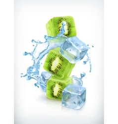 Kiwi with ice cubes and water splash icon vector