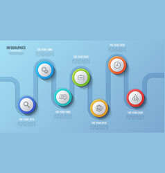 7 steps timeline chart infographic design vector